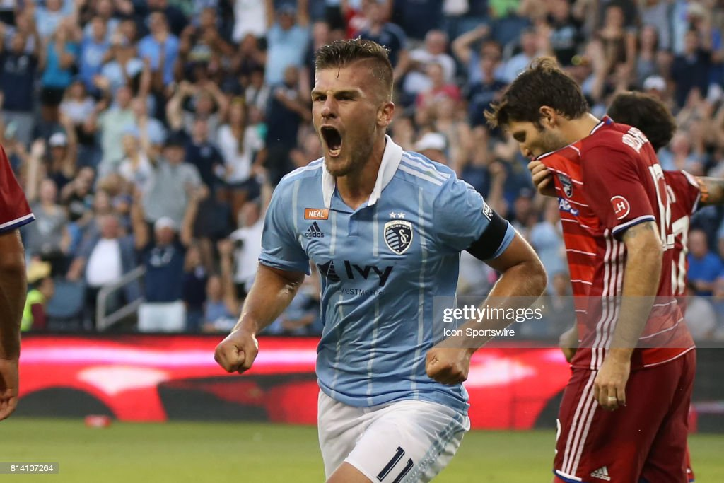Sporting Kansas City forward Diego Rubio (11) after a goal that was later waived off due to a foul in the first half of the US Open Cup quarterfinal match between FC Dallas and Sporting Kansas City on July 11, 2017 at Children's Mercy Park in Kansas City, KS.