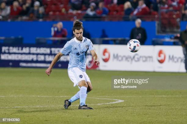 Sporting Kansas City midfielder Graham Zusi takes a set piece shot during the MLS match between Sporting KC and FC Dallas on April 22 2017 at Toyota...