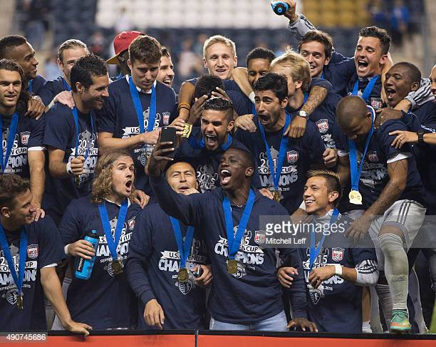 Sporting Kansas City takes a team selfie after defeating the Philadelphia Union in the US Open Cup Final on September 30 2015 at PPL Park in Chester...