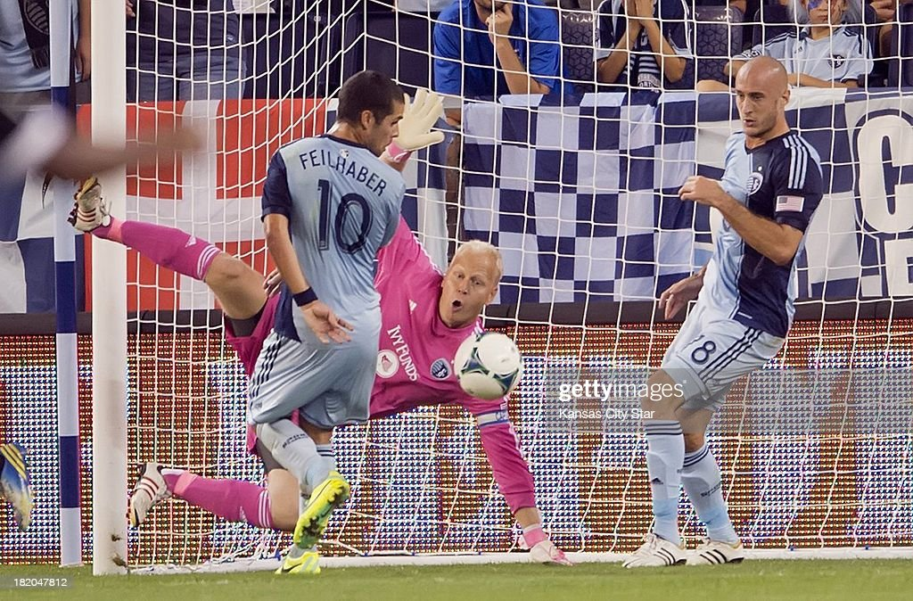 Sporting KC goalkeeper Jimmy Nielsen (1) can't block the rebound of this deflection for the first Philadelphia Union goal in the first half during MLS action on September 27, 2013, at Sporting Park in Kansas City, Kansas.