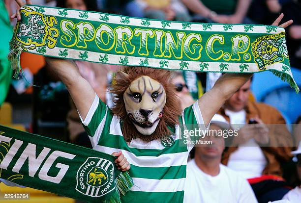 Sporting Lisbon fan shows their support during the UEFA Cup Final between CSKA Moscow and Sporting Lisbon at the Jose Alvalade Stadium May 18 2005...