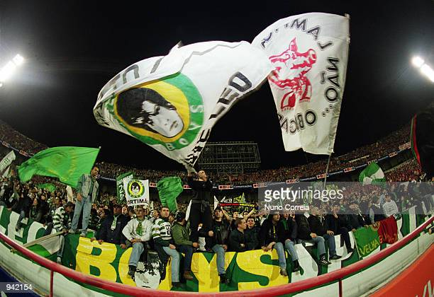 Sporting Lisbon fans during the Portuguese Campeonato match between Benfica and Sporting Lisbon played at the Stadium of Light in Lisbon Portugal on...