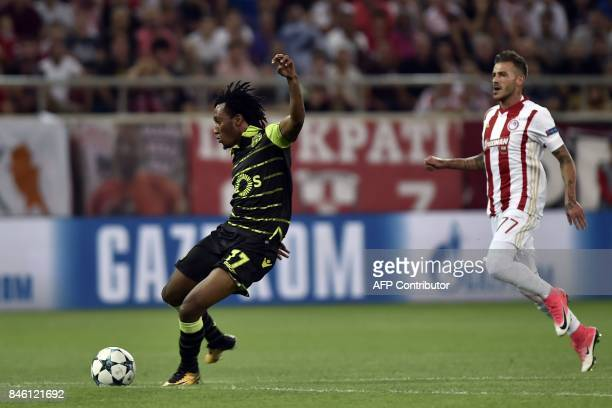 Sporting Lisbon's Angolan forward Gelson shoots to score during the Group D UEFA Champions League football match between Olympiacos and Sporting...