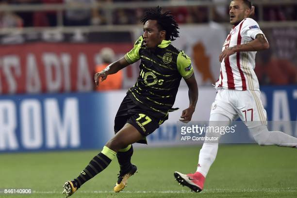 Sporting Lisbon's forward Gelson Martins scores a goal during the UEFA Champions League Group D football match between Olympiacos Piraeus FC and...