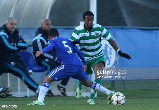 Sporting Lisbon's Lisandro Pedro Varela Semedo runs at Chelsea's Jay Dasilva