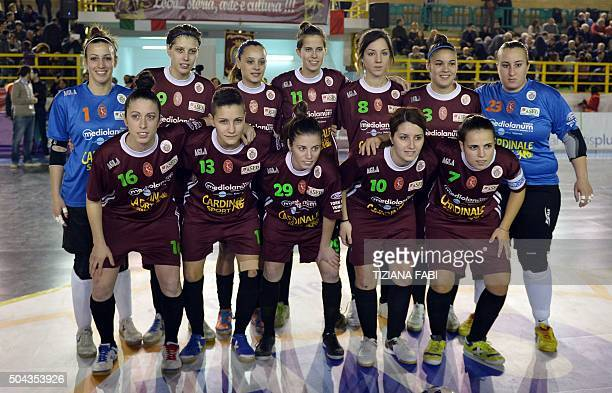 Sporting Locri's players pose for a picture before the women's futsal match between Sporting Locri and Lazio on January 10 2016 at the Sport Centre...