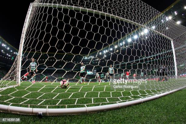 Sporting player after Benfica goal during the Sporting CP v SL Benfica Portuguese Primeira Liga match at Estadio Jose Alvalade on April 22 2017 in...