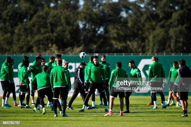 Sporting players attend a training session at Sporting's training ground in Alcochete outskirts of Lisbon on December 4 on the eve of the Champions...