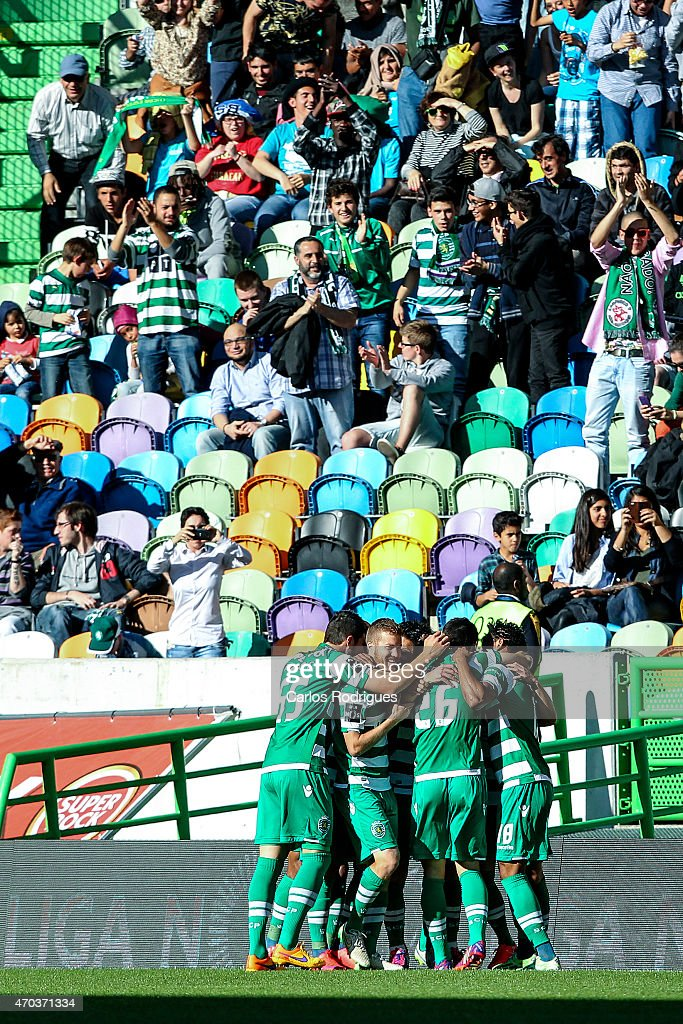 Sporting players celebrating Sporting«s first goal scored by Sporting's midfielder Adrien Silva during the Primeira Liga match between Sporting CF and Boavista at Estadio Jose Alvalade on April 19, 2015 in Lisbon, Portugal.