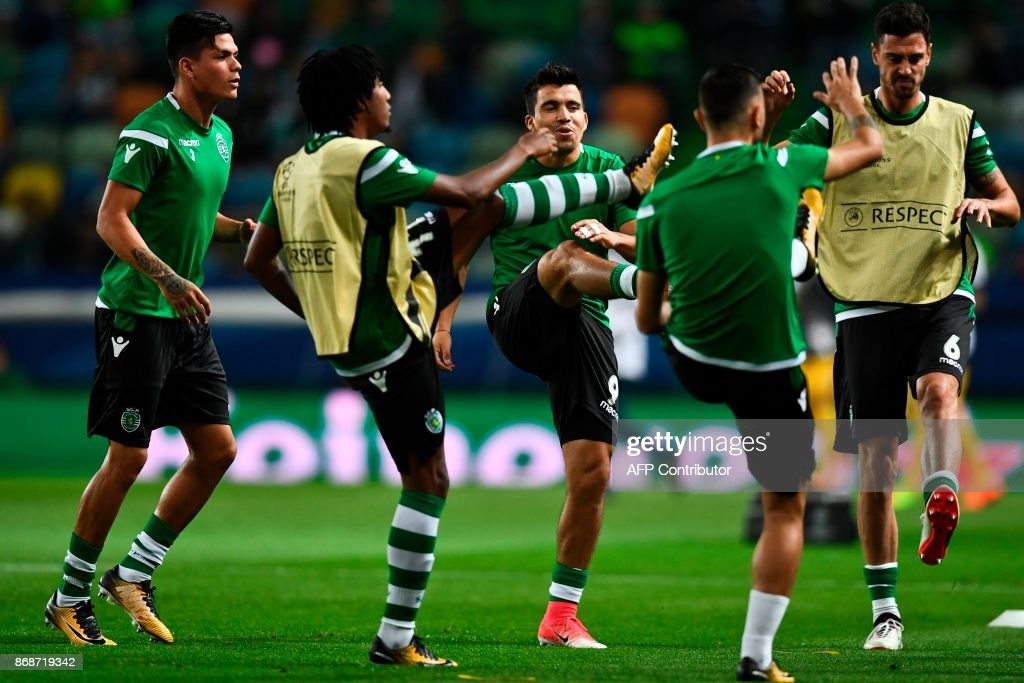 Sporting players warm up before the Champions League, Group D, football match Sporting CP vs Juventus FC at Alvalade stadium in Lisbon on October 31, 2017. /