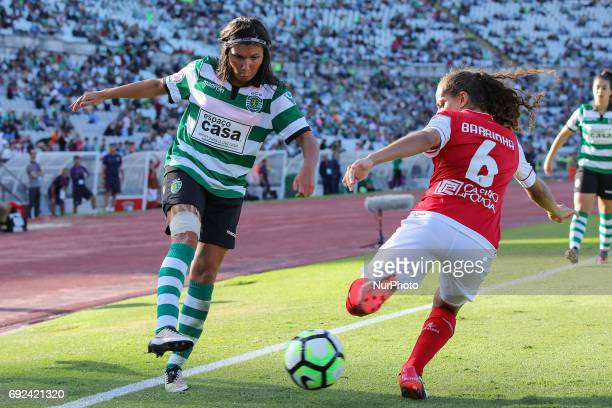 Sportings Ana Borges and Bragas Barrinha during the match between Sporting CP and SC Braga for the Portuguese Women's Final Cup at Estadio Nacional...