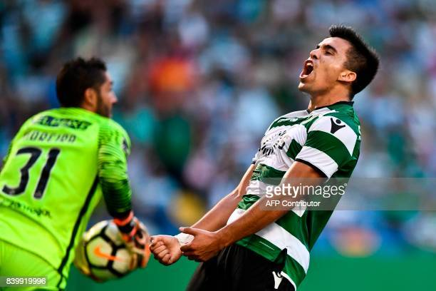 Sporting's Argentine forward Marcos Acuna reacts after missing a goal during the Portuguese league football match Sporting CP vs Estoril Praia at the...