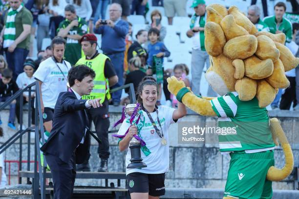 Sportings Carvalhas with the Portuguese Cup Trophy at the end of the match between Sporting CP and SC Braga for the Portuguese Women's Final Cup at...