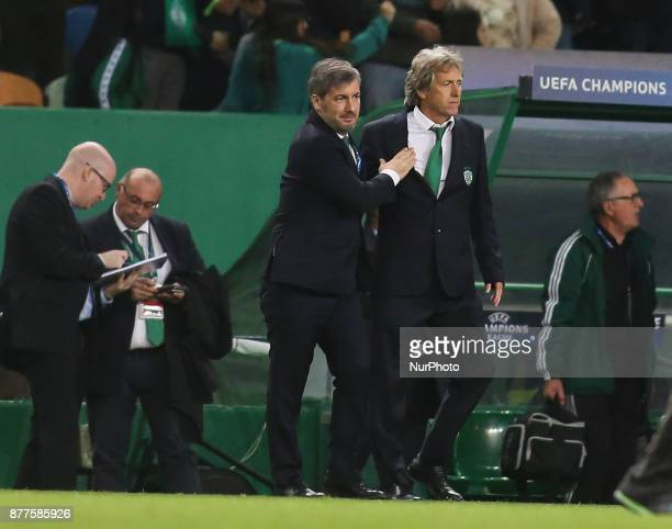 Sporting's chairman Bruno de Carvalho celebrates the victory with Sporting's coach Jorge Jesus during the Champions League football match between...