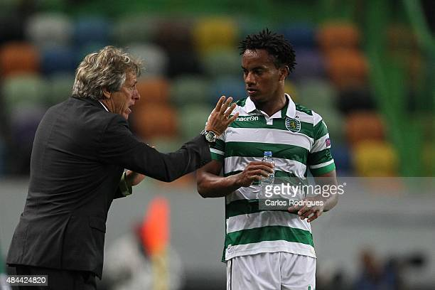 Sporting's coach Jorge Jesus and Sporting's forward Andre Carrillo during the match between Sporting CP and CSKA Moscow for UEFA Champions League...
