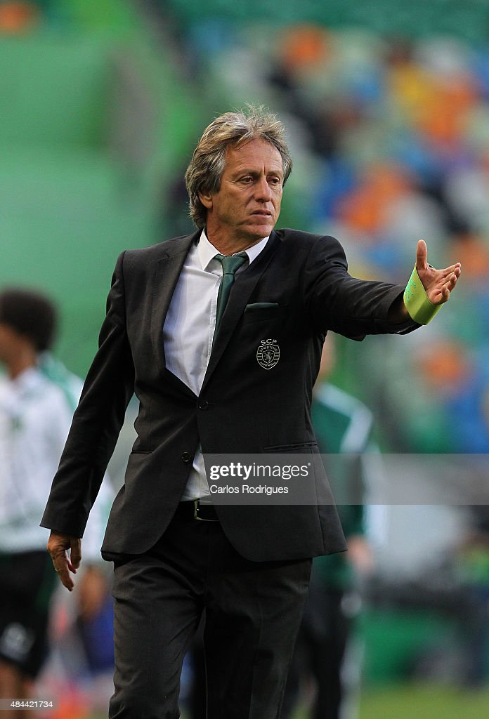 Sporting's coach <a gi-track='captionPersonalityLinkClicked' href=/galleries/search?phrase=Jorge+Jesus&family=editorial&specificpeople=686973 ng-click='$event.stopPropagation()'>Jorge Jesus</a> during the UEFA Champions League qualifying round play-off first leg match between Sporting CP and CSKA Moscow at Estadio Jose Alvalade on August 18, 2015 in Lisbon, Portugal.
