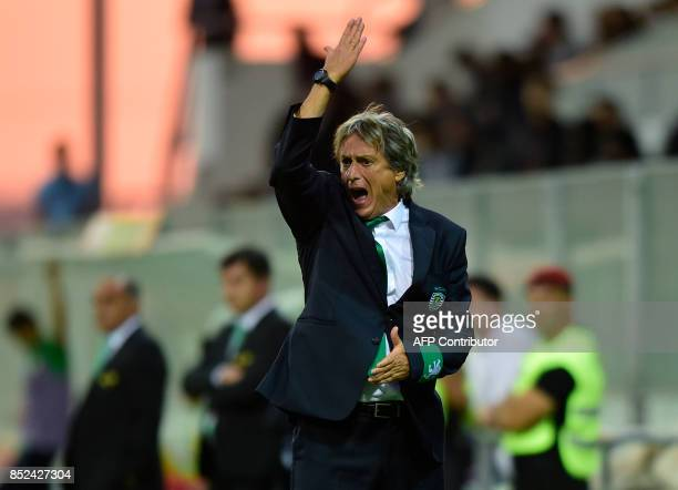 Sporting's coach Jorge Jesus gestures from the sideline during the Portuguese league football match Moreirense FC vs Sporting CP at the Comendador...