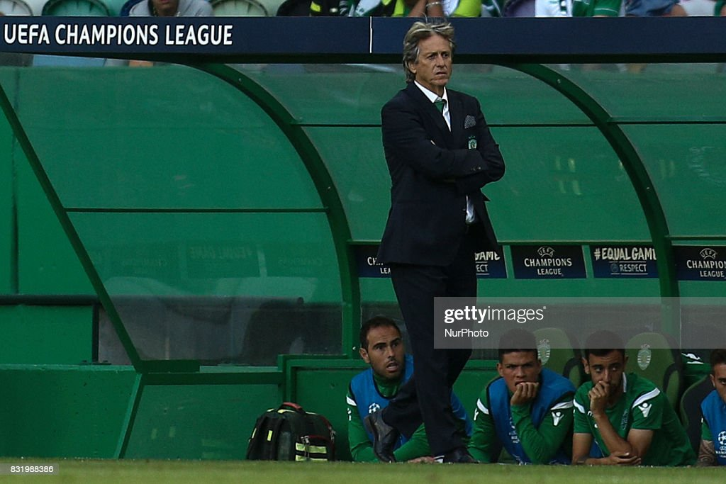 Sporting's coach Jorge Jesus reacts during the UEFA Champions League football match between Sporting CP and Steaua Bucuresti at Alvalade Stadium in Lisbon on August 15, 2017.