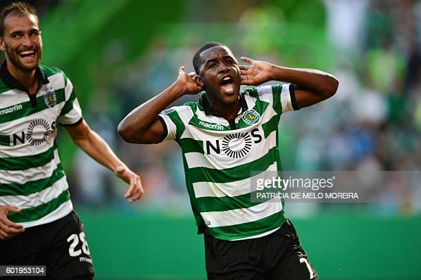 Sporting's Costa Rican forward Joel Campbell celebrates a goal beside teammate Sporting's Dutch forward Bas Dost during the Portuguese league...