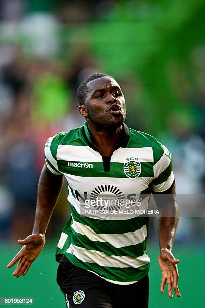 Sporting's Costa Rican forward Joel Campbell celebrates a goal during the Portuguese league football match Sporting CP vs Moreirense FC at the Jose...