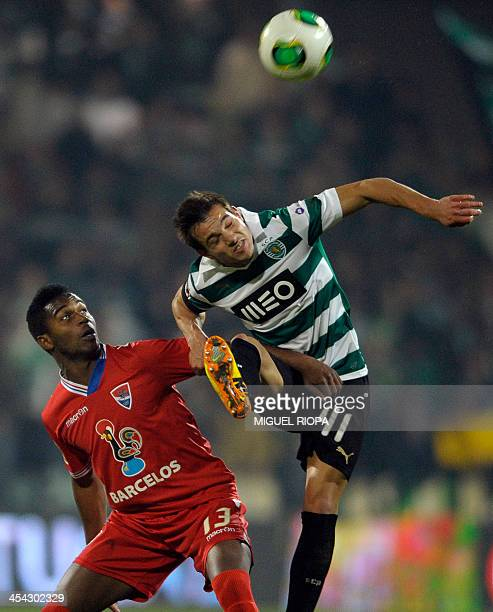 Sporting's defender Cedric Soares vies with Gil Vicente's Cape Verdean forward Brito during the Portuguese league football match Gil Vicente vs...