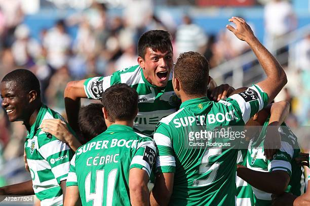 Sporting's defender Ewerton celebrates scoring Sporting«s goal during the Prmeira Liga match between Estoril and Sporting CP at Estadio Antonio...