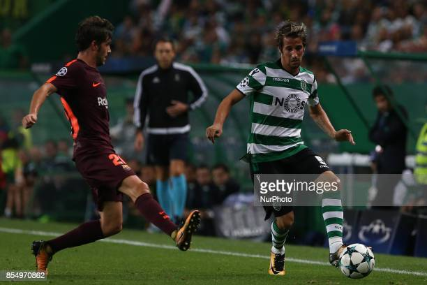 Sportings defender Fabio Coentrao from Portugal and Barcelonas midfielder Sergi Roberto from Spain during the match between Sporting CP v FC...