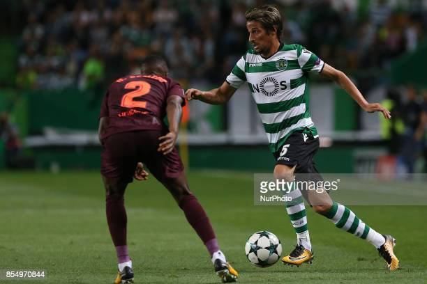 Sportings defender Fabio Coentrao from Portugal during the match between Sporting CP v FC Barcelona UEFA Champions League playoff match at Estadio...