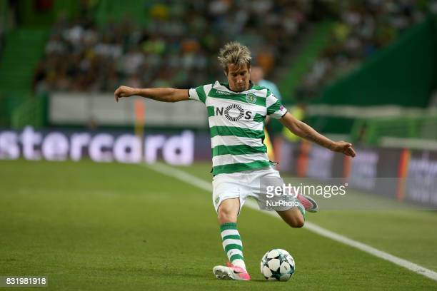 Sporting's defender Fabio Coentrao from Portugal in action during the UEFA Champions League playoffs first leg football match between Sporting CP and...