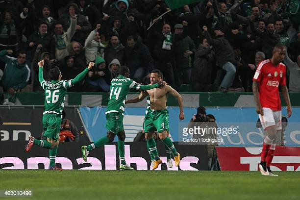 Sporting's defender Jefferson celebrates scoring Sporting«s goal during the Primeira Liga match between Sporting CP and SL Benfica at Estadio Jose...