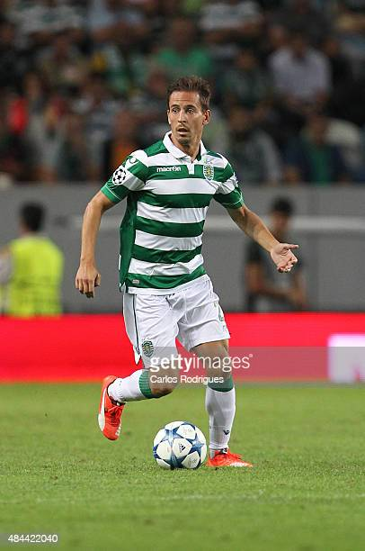 Sporting's defender Joao Pereira during the UEFA Champions League qualifying round playoff first leg match between Sporting CP and CSKA Moscow at...