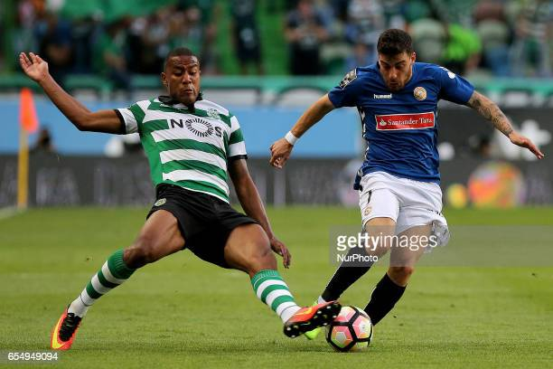 Sportings defender Marvin Zeegelaar from Holland and Nacionals forward Salvador Agra from Portugal during Premier League 2016/17 match between...