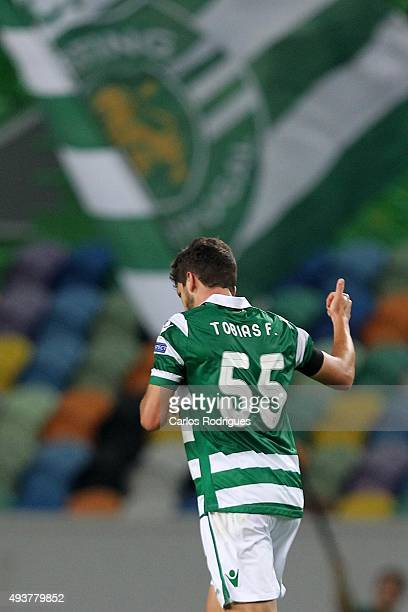 Sporting's defender Tobias Figueiredo celebrates scoring Sporting«s goal during the match between Sporting CP and KF Skenderbeu for UEFA Europe...