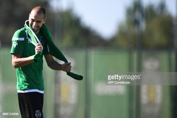 Sporting's Dutch forward Bas Dost arrives for a training session at the club's training ground in Alcochete on October 30 2017 on the eve of the...