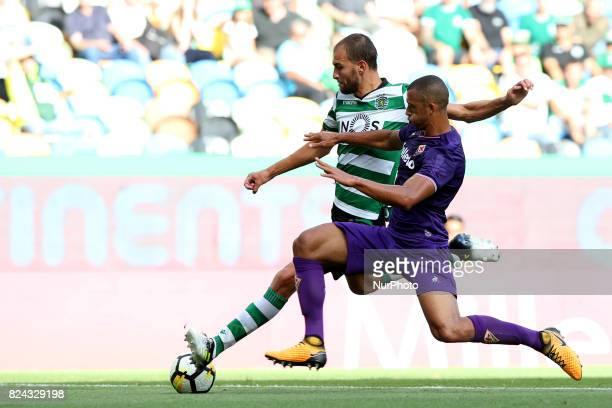Sporting's Dutch forward Bas Dost vies with Fiorentina's Portuguese defender Bruno Gaspar during the Trophy Five Violins 2017 final football match...
