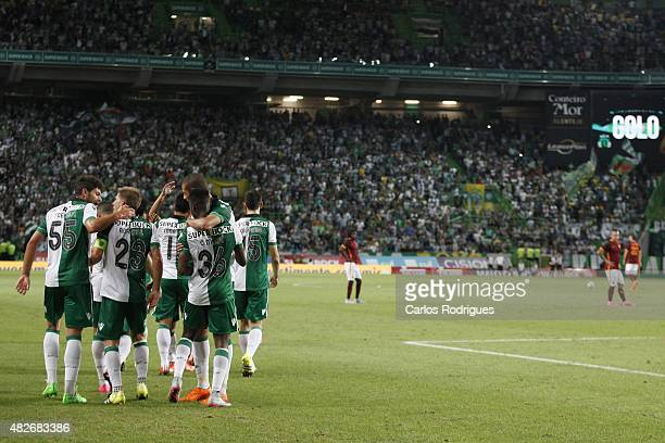 Sporting's forward Andre Carrillo and Sporting's forward Carlos Mane celebrating Sporting«s second goal during the preseason friendly between...