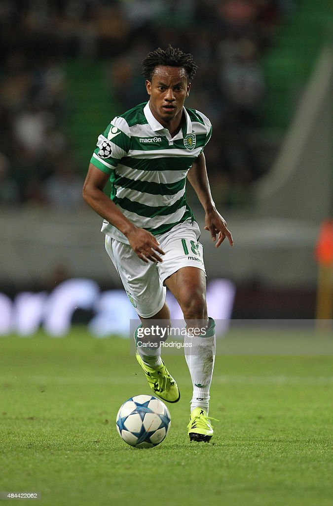 Sporting's forward Andre Carrillo during the UEFA Champions League qualifying round play-off first leg match between Sporting CP and CSKA Moscow at Estadio Jose Alvalade on August 18, 2015 in Lisbon, Portugal.