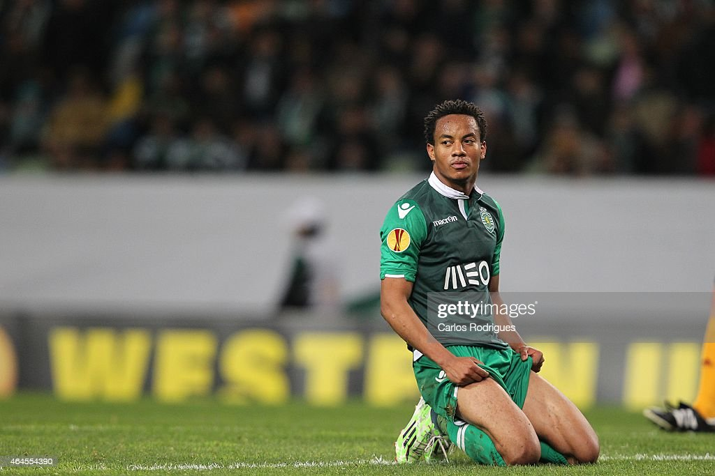 Sporting's forward Andre Carrillo reacts during the UEFA Europa League Round of 32 match between Sporting Clube de Portugal and VfL Wolfsburg at Estadio Jose Alvalade on February 26, 2015 in Lisbon, Portugal.