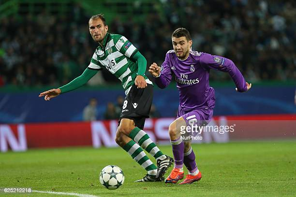 Sportings forward Bas Dost from Holland and Real Madrids midfielder Mateo Kovacic from Croacia in action during the UEFA Champions League match...
