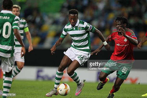 Sporting's forward Carlos Mane vies with Lokomotiv's midfielder Delvin N Dinga during the match between Sporting CP and Locomotive Moscow for UEFA...