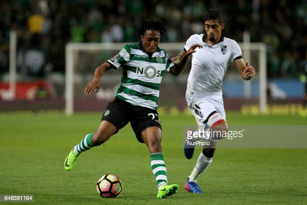 Sportings forward Gelson Martins from Portugal and Vitoria Guimaraes forward Raphinha during Premier League 2016/17 match between Sporting CP and...