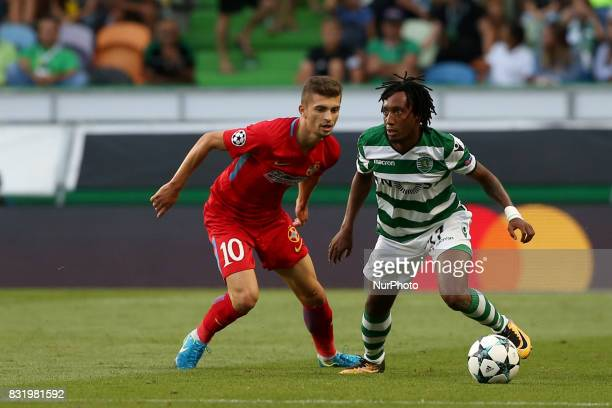 Sporting's forward Gelson Martins from Portugal vies with Steaua's forward Florin Tanase during the UEFA Champions League playoffs first leg football...