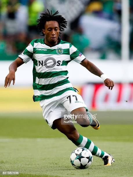 Sporting's forward Gelson Martins in action during Champions League 2017/18 first playoff round match between Sporting CP vs FC Steaua Bucuresti in...