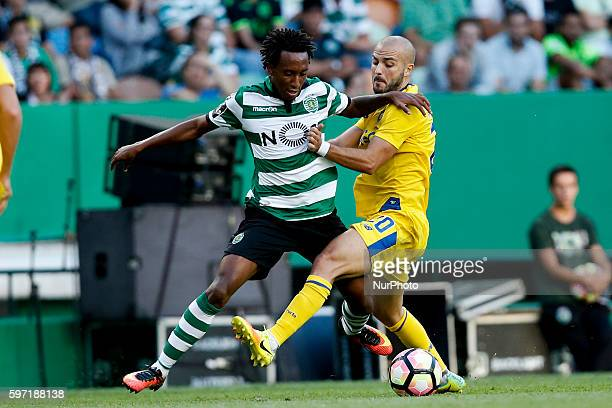 Sporting's forward Gelson Martins vies for the ball with Porto's midfielder Andre Andre during Premier League 2016/17 match between Sporting CP v FC...
