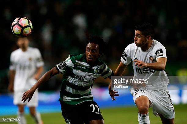 Sporting's forward Gelson Martins vies for the ball with Rio Ave's defender Rafa Soares during Premier League 2016/17 match between Sporting CP vs...