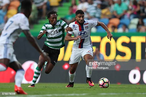 Sporting's forward Gelson Martins vies with Lyon's midfielder Nabil Fekir during the Friendly match between Sporting CP and Lyon at Estadio Jose...