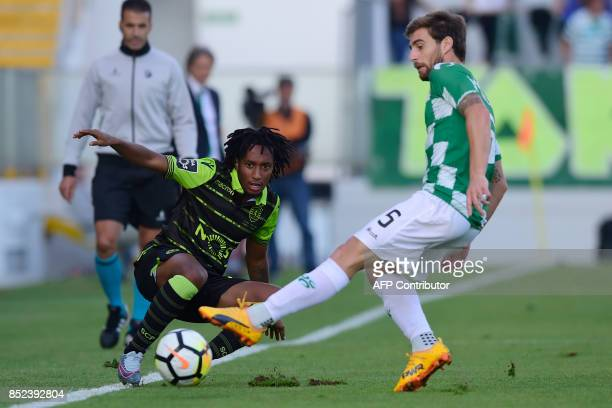 Sporting's forward Gelson Martins vies with Moreirense's defender Ruben Lima during the Portuguese league football match Moreirense FC vs Sporting CP...