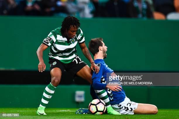 Sporting's forward Gelson Martins vies with Nacional's defender Rui Correia during the Portuguese league football match Sporting CP vs CD Nacional...
