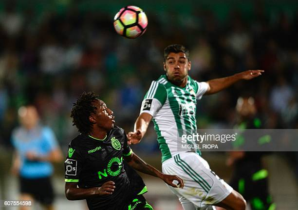 Sporting's forward Gelson Martins vies with Rio Ave's defender Rafa Soares during the Portuguese league football match Rio Ave FC vs Sporting CP at...