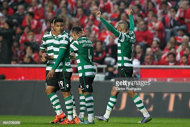 Sporting's forward Islam Slimani celebrates scoring Sporting«s second goal during the match between SL Benfica and Sporting CP at Estadio da Luz on...